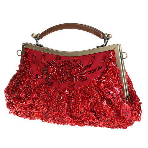 Outfits Metal Trim Beaded Evening Bag - WINE RED  Mobile