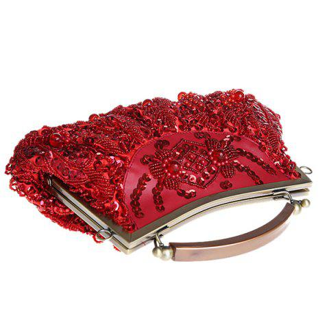 Hot Metal Trim Beaded Evening Bag - WINE RED  Mobile