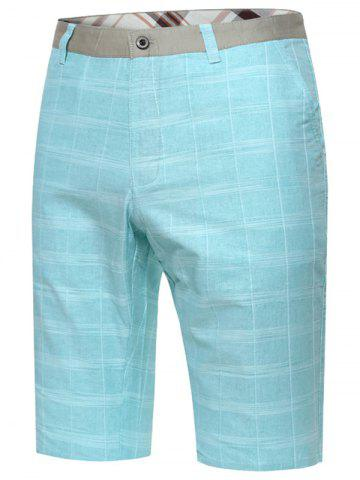 Latest Zip Fly Checked Bermuda Shorts - TURQUOISE 33 Mobile