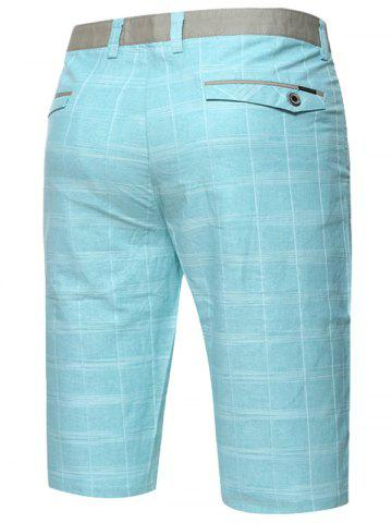 Outfits Zip Fly Checked Bermuda Shorts - TURQUOISE 33 Mobile