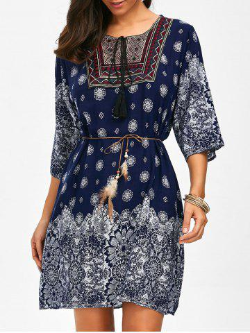 Unique Self Tie Printed Embroidered Dress CERULEAN ONE SIZE