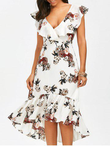 Affordable Mermaid Plunge Floral Backless Tea Length Dress WHITE M