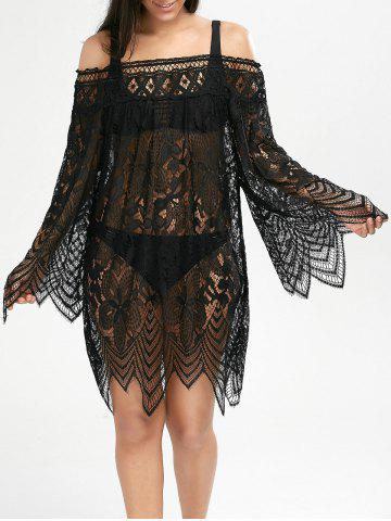 Lace Sheer Long Sleeve Cover Up Dress - Black - Xl