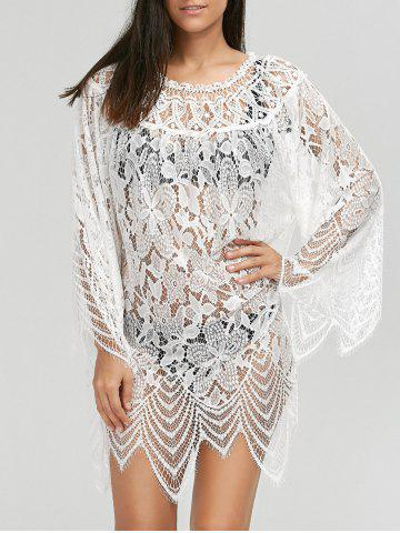 Lace Sheer Long Sleeve Cover Up Dress - White - M