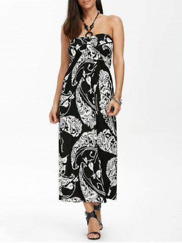 Maxi Halter Neck Printed Summer Beach Dress - White And Black - One Size