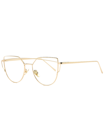 Latest Golden Frame Metal Bar Pilot Sunglasses - TRANSPARENT  Mobile