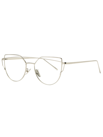 Affordable Fashion Metal Bar Silver Frame Sunglasses For Women - CLEAR WHITE  Mobile
