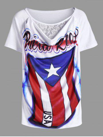 Lace Panel Distressed American Flag Airbrush T-Shirt - White - Xl