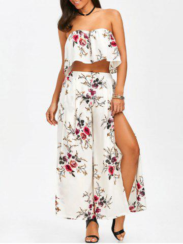 Strapless Crop Top and Slit Wide Leg Pants - White - S