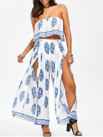 Best Strapless Crop Top and Slit Wide Leg Pants BLUE AND WHITE M