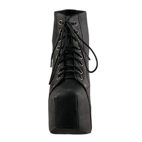Hot Stylish Casual PU Leather Solid Color Lace-Up Design Women's Platform Boots - 37 BLACK Mobile