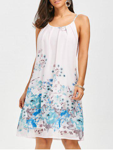 Best Floral Chiffon Slip Swing Shift Dress FLORAL XL