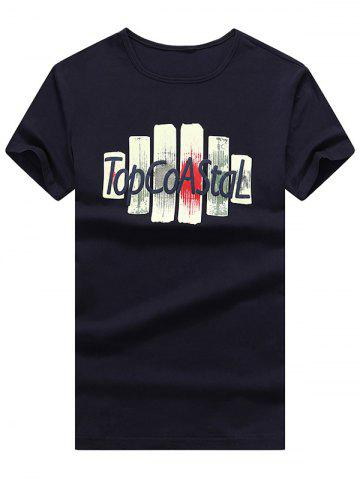 Letter Print Slim Fit T-Shirt - DEEP BLUE 3XL