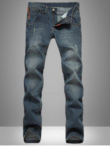 Buy Retro Style Fitting Simple Design Denim Jeans For Men DEEP BLUE 34