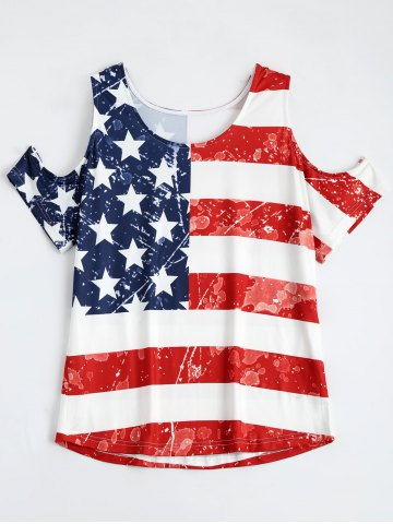 Distressed Cold Shoulder Patriotic American Flag Tee Shirt - Colormix - S