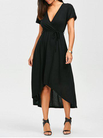 Fancy High Low Surplice Tea Length Maxi Dress - M BLACK Mobile