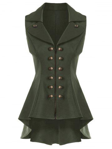 Store Double Breast High Low Lapel Dressy Waistcoat ARMY GREEN 2XL