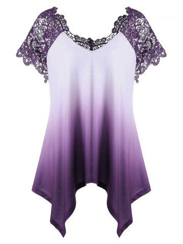 Cheap Plus Size Lace Panel Ombre Asymmetric T-Shirt PURPLE 2XL