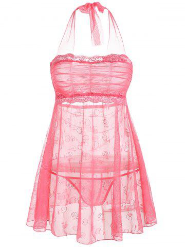 Mesh Sheer Halter Intimate Badydoll Dress - Deep Pink - One Size