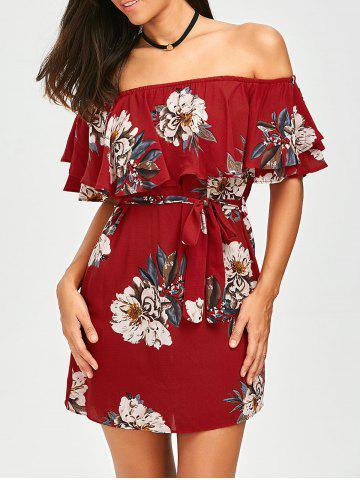 Online Belted Off The Shoulder Flounce Summer Dress RED L