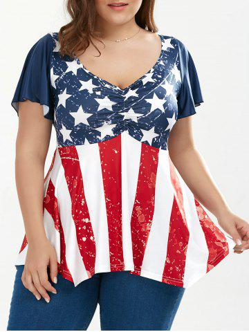 Trendy Distressed Patriotic Plus Size American Flag Tunic COLORMIX 5XL