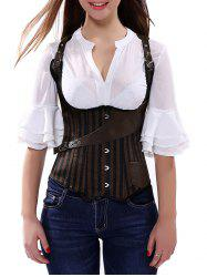 Belted Embellished Stripe Cupless Corset Top - BROWN