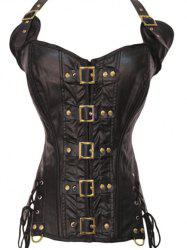 Halter Lace-Up Faux Leather Steampunk Corset - BROWN