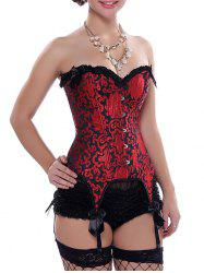 Ruffle Lace-Up Garter Corset - RED