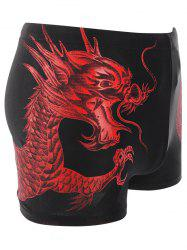 Dragon Pattern Lace Up Swimming Trunks - RED 2XL