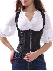 Jacquard Lace Up Underbust Corset Top - BLACK
