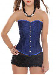 Lace-Up Slimming Corset Top - BLUE S