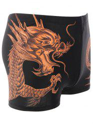 Dragon Pattern Lace Up Swimming Trunks