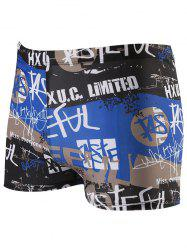 Letter Graffiti Pattern Lace Up Swimming Trunks - BLUE