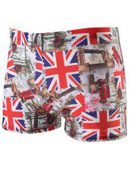 The Union Jack Pattern Lace Up Swimming Trunks - RED