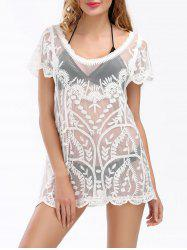 See Through Scalloped Lace Beach Cover Up