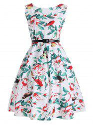 Floral Print High Waist Belted Dress