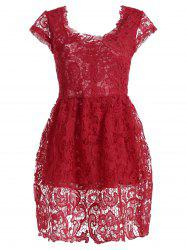 High Waist Crochet Lace Cap Sleeve Dress