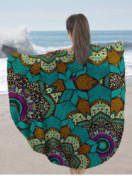 Milk Silk Fabric Round Beach Throw with Mandala Print