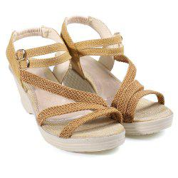 Woven Belt Wedge Heel Sandals - BROWN