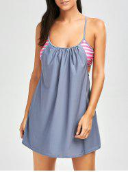 Stripe Cami Skirted Blouson Tankini Swimwear