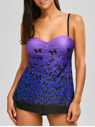 Blouson Tankini with Butterfly Pattern