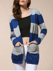 Stylish Broad Striped Long Sleeve Cardigan For Women