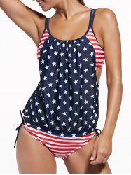 Cut Out American Flag Tankini Patriotic Swimwear - BLUE AND RED