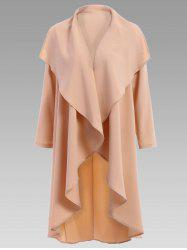 Stylish Turn-Down Collar Solid Color Long Sleeves Coat For Women - APRICOT