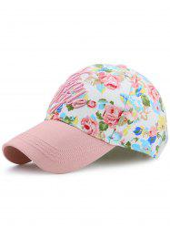 Letters Embroidery Floral Printing Baseball Hat -
