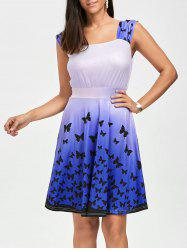 Square Neck Butterfly Print Short Skater Dress - GRADUAL PURPLE M