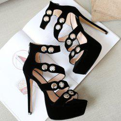 Eyelets Platform Stiletto Heel Strappy Sandals
