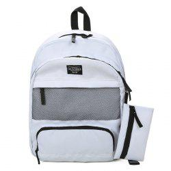 Mesh Panel Nylon Backpack and Pouch Bag