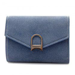 Suede Tri Fold Small Wallet - BLUE