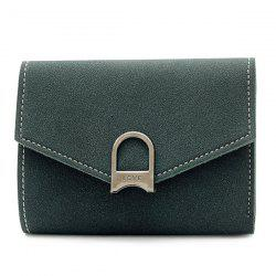 Suede Tri Fold Small Wallet - DEEP GREEN